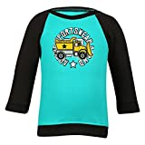 Clifton Baby Boys Raglan Printed Full Sleeve T-shirts -Teal-Black -Construction -0-6 Months