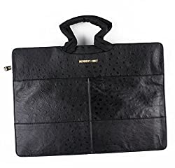 Members Only Briefcase - Black Ostrich - 100% Leather