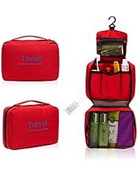 Hombres Mujeres Práctico impermeable de nylon Lavar, Estar colgado portátil Neceser, caso del maquillaje cosmético plegable Organizador, multifuncional bolso de la colada, para viajes y camping (rojo)