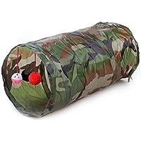 KingNew Bolsa plegable para mascotas, túnel, gato, gatito, hurones, con timbre, colorido, 50 cm, camuflaje