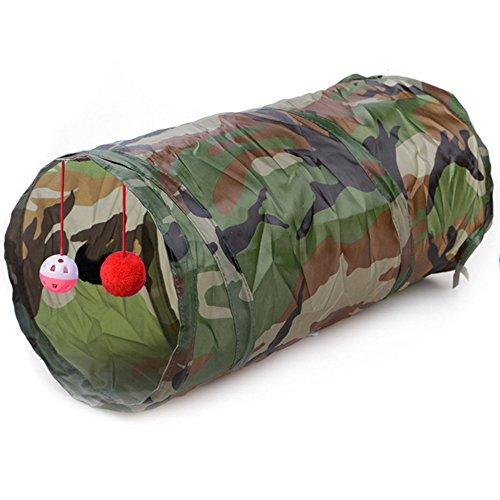 Kingnew Portable Pet Bag, Faltbare Pet Tunnel Katze Kätzchen Frettchen Crinkle mit Ring Bell, 50cm (Camouflage)
