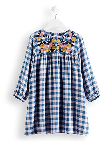 RED WAGON Mädchen Check Smock Dress Kleid, Blau (Blue/Pink, 110 (Herstellergröße: 5)