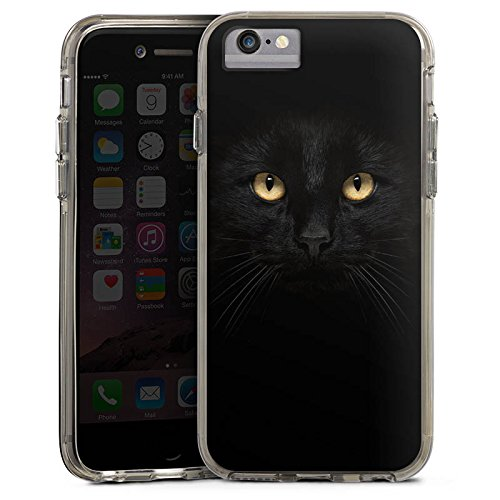 Apple iPhone 8 Bumper Hülle Bumper Case Glitzer Hülle Katze Eyes Augen Bumper Case transparent grau