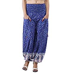 Indi Bargain Cotton Printed Blue Harem Trouser (303Blue)