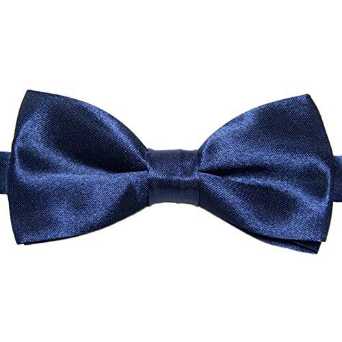 Kinder-Fliege Dunkelblau Satin Seide-Optik   vor-gebundene Kinderschleife Anzugschleife   verstellbar (Smoking Hund Hochzeit)