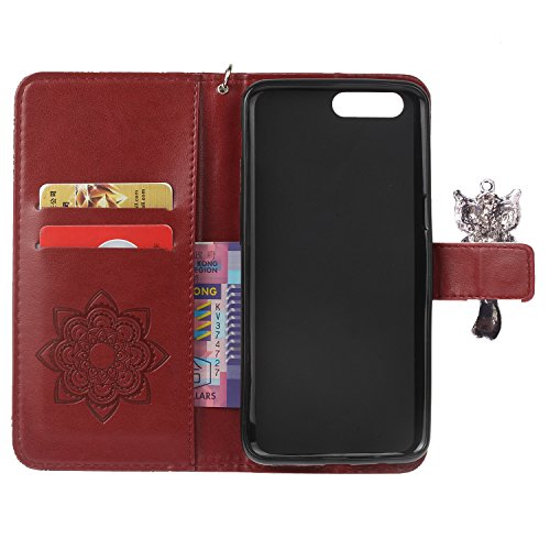 iphone7 Plus (5.5 Zoll) Wallet Case für Apple iPhone 7 Plus Flip Hülle Laoke Eule Blumen Muster Handyhülle Schutzhülle PU Leder Case Skin Brieftasche Ledertasche Tasche im Bookstyle in +Staubstecker ( 4