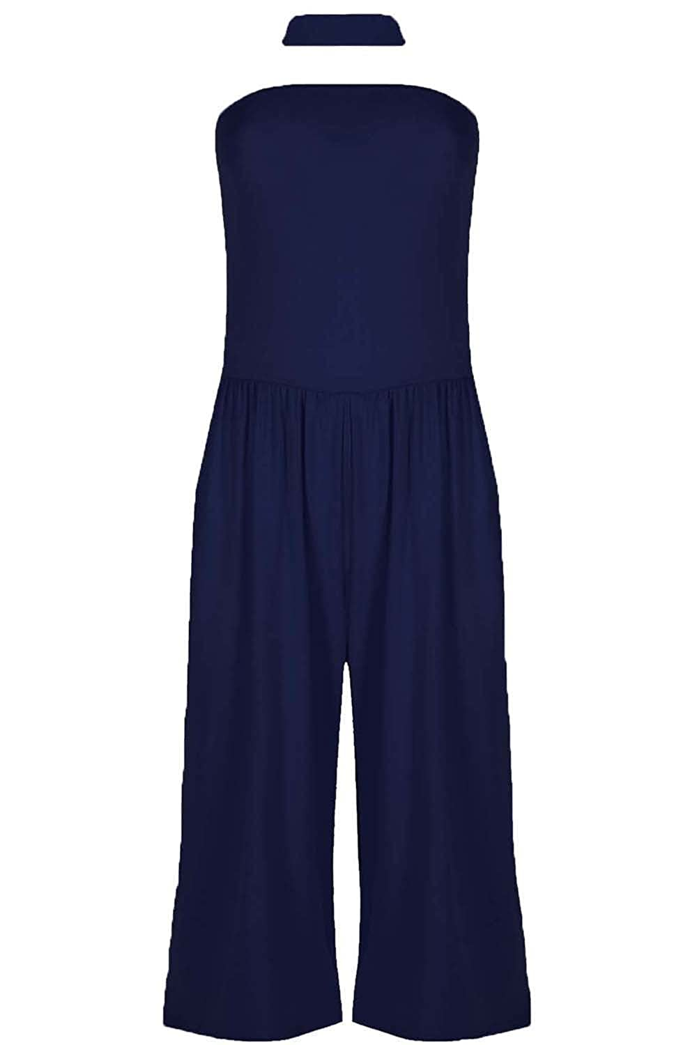 Women Ladies Choker Boobtube Wide Leg Palazzo Playsuit Jumpsuit All In One Piece