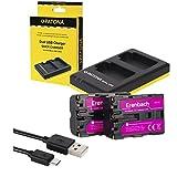3in1-SET für die Sony Alpha 58 / SLT-A58K --- 2 Erenbach Akku für Sony NP-FM500 (1300mAh) + Dual Ladegerät (laden Sie 2 Akkus via USB-Anschluss auf einmal)