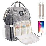 Baby Wickelrucksack Wickeltasche mit Wickelunterlage Multifunktional Große Kapazität Babytasche Reisetasche USB-Ladeanschluss für Unterwegs, Grau