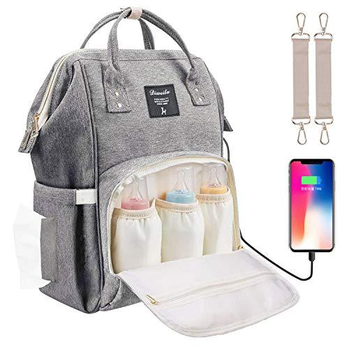 Baby Wickelrucksack Wickeltasche mit Wickelunterlage Multifunktional Große Kapazität Babytasche Reisetasche USB-Ladeanschluss für Unterwegs, Grau -
