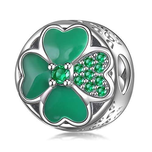 Ememcharm qudrifoglio charm donna argento verde zirconia ciondoli regalo gm16