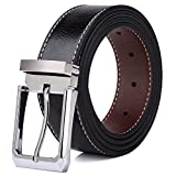 Tonly Monders Reversible Men's Leather Belt Rotated Buckle Black, 1.25 Inch Wide, 48 49 50 51 Waist XXL