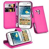 Cadorabo - Funda Samsung Galaxy TREND PLUS (GT-S7580) Book Style de Cuero Sintético en Diseño Libro - Etui Case Cover Carcasa Caja Protección (con función de suporte y tarjetero) en ROSA-CEREZA