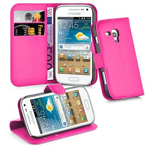 Cadorabo - Book Style Hülle für Samsung Galaxy TREND PLUS (GT-S7580) - Case Cover Schutzhülle Etui Tasche mit Standfunktion und Kartenfach in CHERRY-PINK