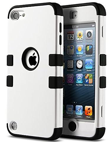 iPod Touch 5 Hülle, ULAK iPod Touch 6 Hülle 3in1 Stoßfest Hybrid High Impact Hart PC und Weiche Silikon Schutzhülle Tasche Case Cover für Apple iPod Touch 5 6 Generation (Weiß + Schwarz)