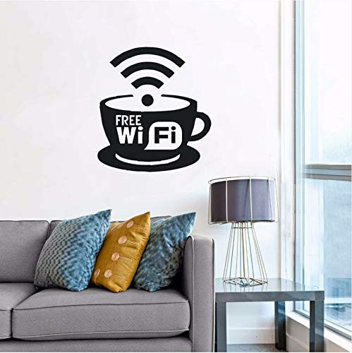 Wuyyii Free Wifi Logo Wall Window Decal Coffee Cafe Restaurant Wall Art Decoration New Design Free Wifi Cup Vinyl Wall Sticker57X63Cm