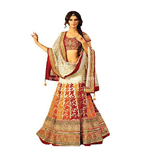 Mashur Fab Women's Silk and Banglory Lehenga Cholis With Blouse Piece (MW1_Multi_Color_Free...