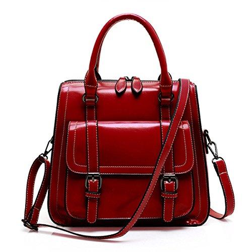 Damenmode Schultertasche Weichem Leder Große Crossbody Taschen Für Frauen Tägliche Shopper Tote Bag Weekend Satchel Red