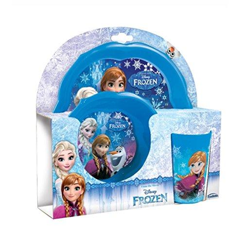 Frozen - 6115886 - Set La Reine des neiges Disney - Elsa et Anna - 2 assiettes + 1 verre - Coffret cadeau