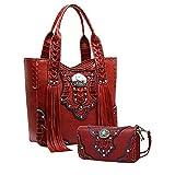 La Dearchuu Westlicher Stil Rot Schultertaschen Franse Henkeltaschen für Damen und Clutch Handschlaufe Handtasche Geldbörse