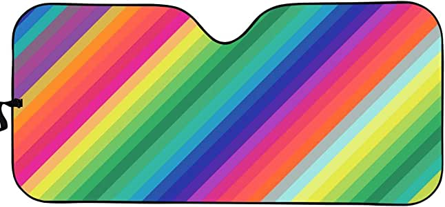 Agroupdream Colorful Car Windshield Sun Shade Front Window Windscreen Cover Universal Fit Car UV Ray Sun and Heat Visor Protection Rainbow