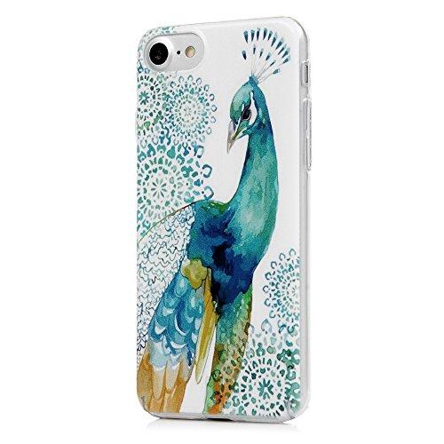 """iphone 7 4.7"""" Coque KASOS Transparent Housse Etui Phone Case Protection de Téléphone PC Plastique Ultra Mince Anti-Rayures Anti-dérapante Ultra Housse Bumper Cover -Arbre zébré Grand paon bleu"""