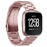 GOSETH für Fitbit Versa Solid Edelstahl Zubehör Band für Frauen Männer, Ersatz Armband Armbanduhr Armband für Fitbit Versa Fitness Smart Watch (Edelstahl Rose Pink)