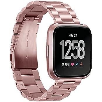Goseth Bracelet en acier solide pour Fitbit Versa, bracelet de rechange femme/homme pour