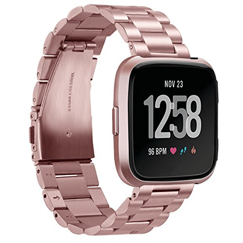 GOSETH für Fitbit Versa/Fitbit Versa Lite Armband,Solid Edelstahl Zubehör Band für Frauen Männer, Ersatz Armband für Fitbit Versa & Lite Edition (Edelstahl Rose Pink)