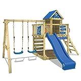 WICKEY Gioco da esterno in legno Smart Cave Parco giochi Torre di arrampicata con tetto in legno, scivolo,
