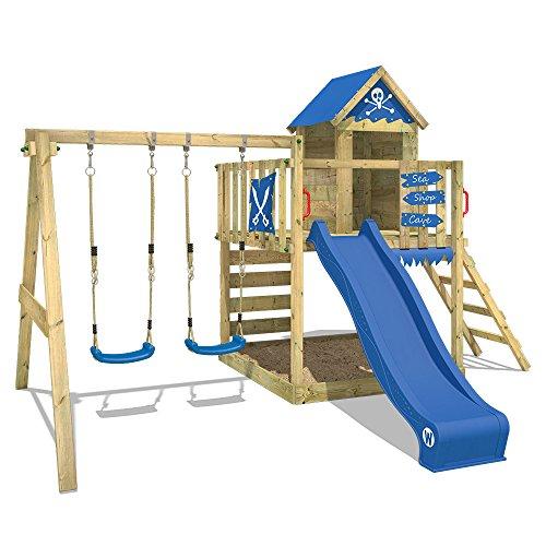 WICKEY parque infantil Smart Cave casa de juego de madera con columpio y tobogán