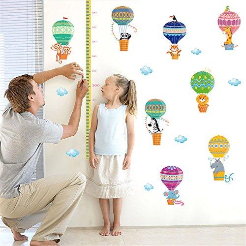 Heißluftballon Elfant Affe Löwe Giraffe Panda Wachstum Diagramm Wandtattoos Kinderzimmer Babyzimmer Height Chart Wandsticker (Chart Wandtattoo Wachstum Giraffe)