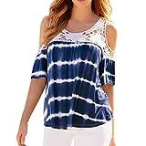 VEMOW Sommer Elegante Damen Mädchen Frauen Plus Größe Lässig Täglichen Strand Cold Shoulder Spitze Splice Blau Kurzarm Bluse Shirt Top T Shirts Pulli(Blau, EU-44/CN-XL)