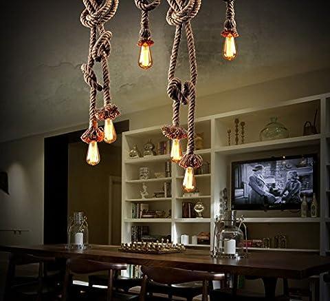 QWER Pendant Deckenleuchte Lampe Sal Garn Lampe Kronleuchter kreative Sepia Restaurant Cafe Licht Thema Restaurant Sal Garnenden mit einem Kronleuchter, Edon, 250 cm (250 Thema)