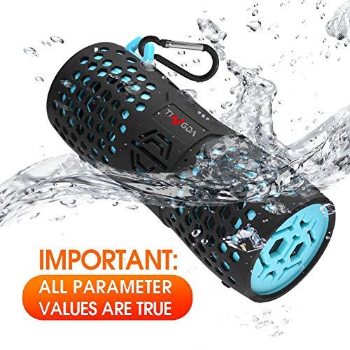 Tingda Tragbare Bluetooth Lautsprecher, Wasserdicht Lautsprecher, Wlan Lautsprecher, IP67, AUX-Anschluß, Freisprechanlage, 12 Watt with bass, für outdoor, dusche, kinder, auto, party, fahrrad, android