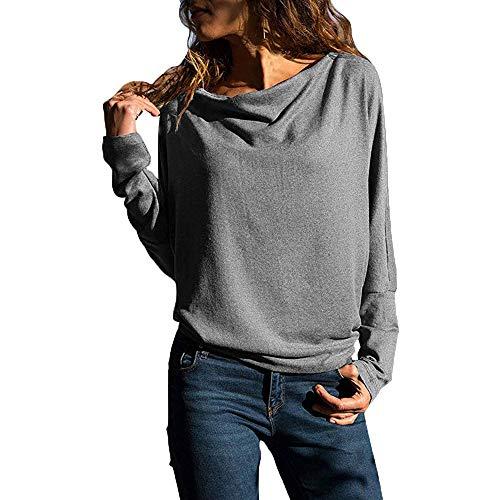 KUDICO Damen Tops Sexy Solid Lange Ärmel lässige Lockere Blusen Hemden Tee Top Sweatshirts Nach...