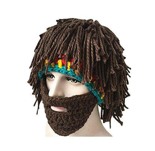 ond Bild Lustige Hüte Wintermütze mit Bart für Eine Maskerade,Braun (Maskerade Kostüme Männer)