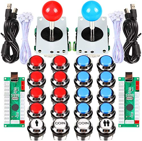 EG STARTS 2 Player Arcade Contest DIY Kits USB Encoder To PC Joystick + 8 Ways Stick + Chrome LED Illuminated Push Button 1 & 2 Player Coin Buttons For Arcade Mame Raspberry Pi 2 3 3B Games