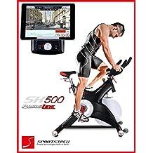 Sportstech Cycle intérieur SX500 professionnelle avec contrôle de l'application smartphone + Google Street View, volant 25KG, support de bras - Speedbike en qualité studio avec système de clic SPD