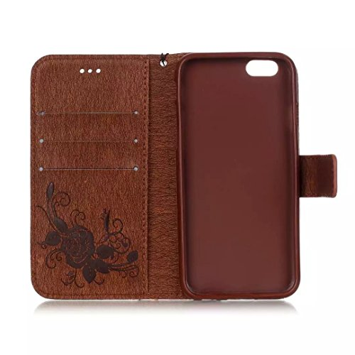 iPhone Case Cover Gemaltes Farbenmuster-Mappenartkasten magnetisches entwerfen Flipfolio PU-Lederabdeckung standup Abdeckungsfall für iPhone 6s 6 plus 5.5 Zoll ( Color : Blue , Size : IPhone 6s Plus ) Brown