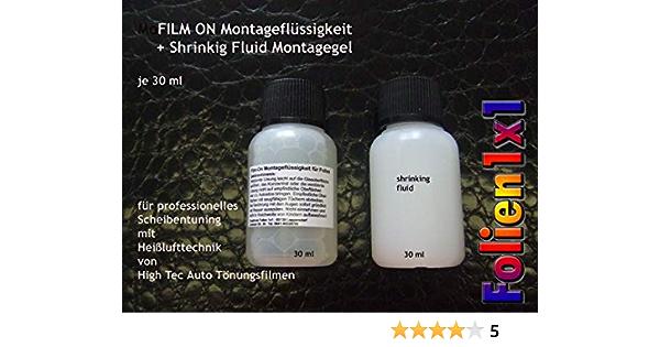 Creativum Folien1x1 Auto Tönungsfolien Montagemittel Set 30 Ml Film On Montagekonzentrat 30 Ml Shrinking Schrumpf Gel Für Professionelles Scheibentönen Auto