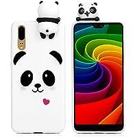 Carcasa de silicona Tophung para Huawei P20, diseño 3D a prueba de golpes, brillante, fina, suave, de silicona, flexible, TPU, transparente, antiarañazos, protección trasera , White Panda