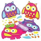 Kits de costura para hacer cojines de fieltro en forma de búhos que los niños pueden decorar y exhibir u ofrecer como regalo creativo (pack de 2).