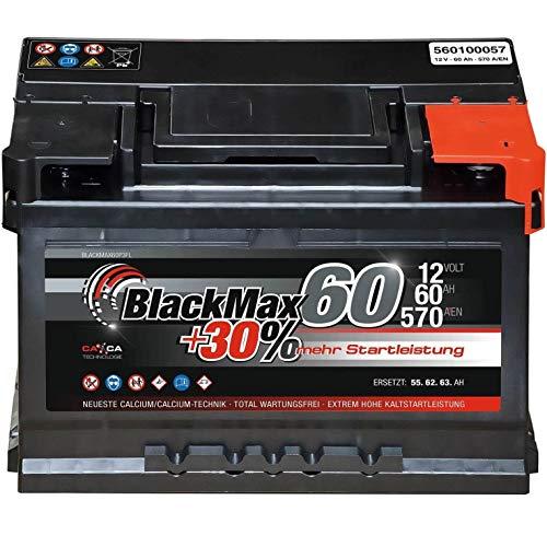 Autobatterie 12V 60Ah 570A BlackMax Starterbatterie ersetzt 55Ah 56Ah 61Ah 62Ah 63Ah