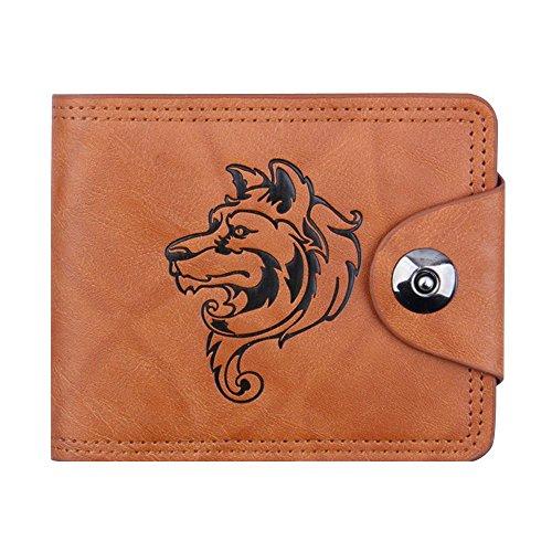 squarexmen Bifold Business Leder Geldbörse ID Kreditkarte Halter Taschen wolf AS Show (Leder Echt-passport-halter)