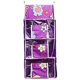 Guru Kripa Baby Products™ Presents Four Cabinet Baby Kids Hanging Almirah For Multipurpose Foldable Hanging Storage Organiser Wardrobe Rack (Purple, 4 Cabinet)