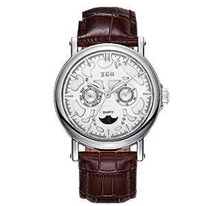 Correa de cuero de calidad rose gold reloj de cuarzo de luna/Blu-ray doble calendario medio tercer ojo reloj-R marca ZHANG Maid
