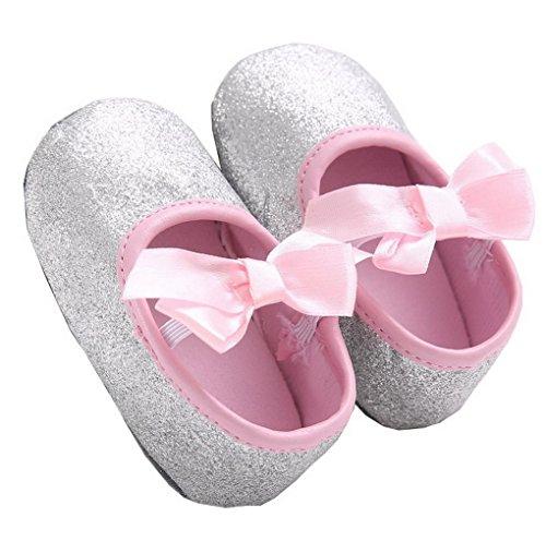 ACMEDE - Chaussures Premiers Pas Semelle Souple Antidérapant Paillettes Avec Noeud PapillonPour Bébé Fille Argent