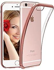 Funda iPhone 7, Nakeey iPhone 7 Funda Case Carcasa Protección [Shock-Absorción][Anti-Arañazos] Silicona Case Cover para iPhone 7 - Rosa dorado