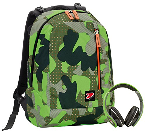 2 in 1 Zaino Reversibile SEVEN THE DOUBLE - COLOR CAMOUFLAGE - Verde - cuffie stereo con grafica abbinata incluse!
